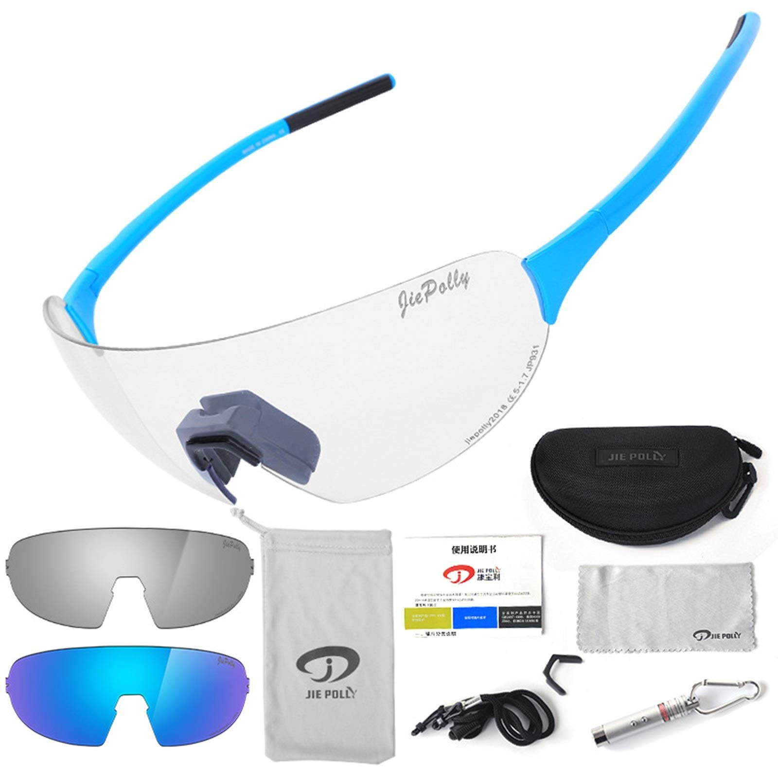 Adisaer Motocross Goggles Outdoor Sports Riding Color-Changing Glasses Men and Women Running Fishing Bicycle Windproof Polarized Glasses Blue Luxury for Adults