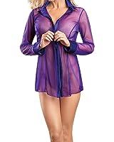 Eleery Damen Sexy Boyfriend Style Chiffon durchsichtig Bluse Hemd Schlafanzug Morgenmantel Bademantel