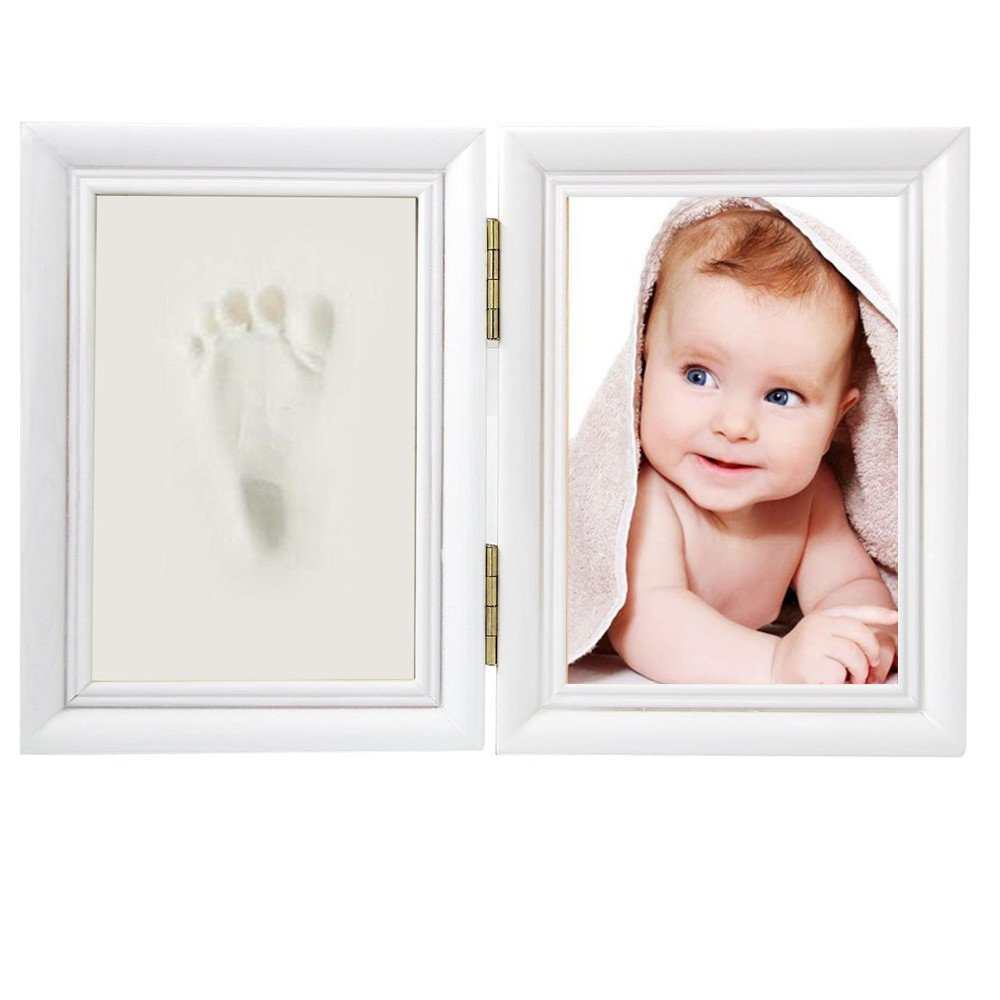 Baby Handprint and Footprint Photo Frame Kit,Baby Prints Gift Keepsake Picture Frames Safe Clay (log) Junxave