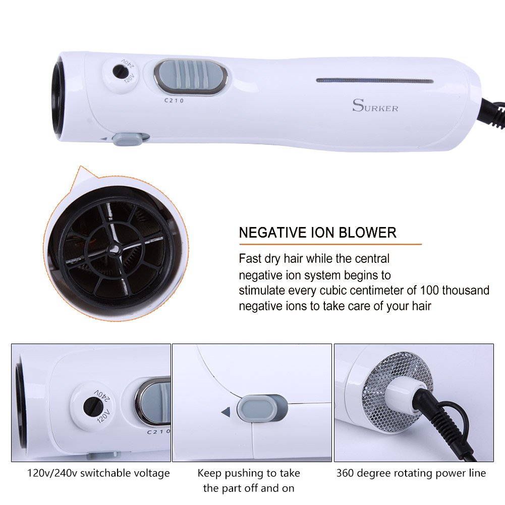 SURKER Cepillo de Aire Caliente 5 en 1 Cepillo Moldeador Cepillo Secador Rizador de Aire Electrico Cepillo Pelo Redondo 1200W Temperatura Ajustable con ...