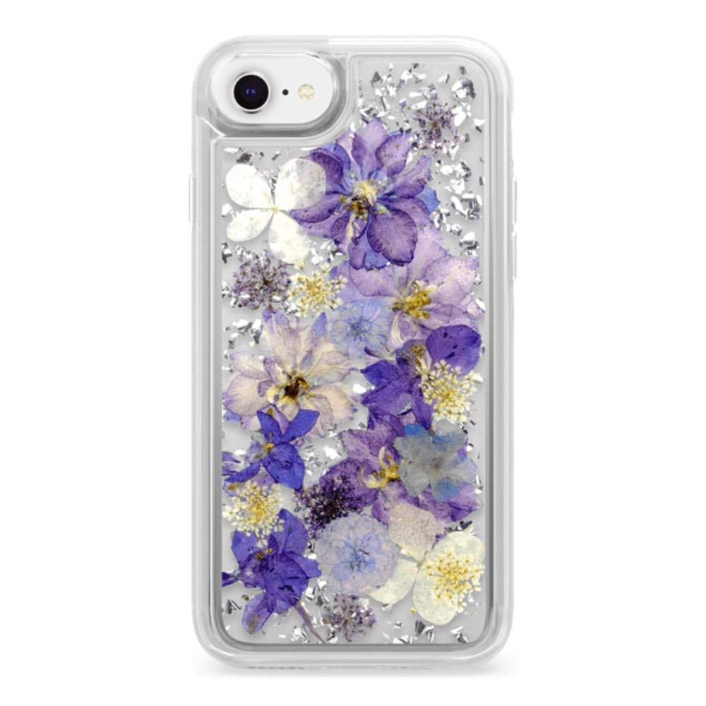 premium selection 9c786 62005 Casetify Real Flower iPhone 7/8 Case Pressed Dried Flowers with Silver Foil  Flake in Hard Back Cover and Frost Shockproof Drop Proof Bumper and ...