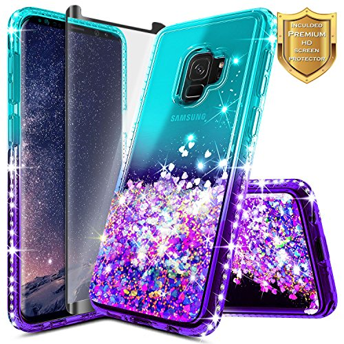 Galaxy S9 Case w/[Full Coverage Screen Protector Premium Clear], NageBee Glitter Liquid Quicksand Waterfall Flowing Sparkle Bling Diamond Girls Cute Case Designed for Samsung Galaxy S9 -Aqua/Purple