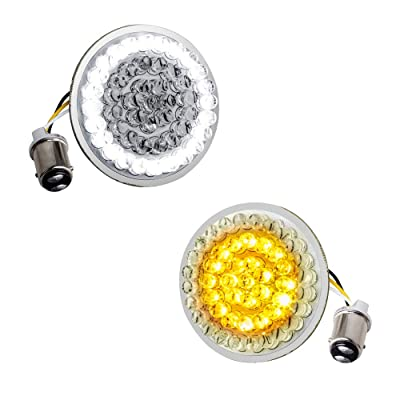 NTHREEAUTO LED Lights 2 Inch Bullet Style Turn Signal Front 1157 Pannel Compatible with Harley Dyna, Sportster: Automotive