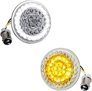 NTHREEAUTO LED Lights 2 Inch Bullet Style Turn Signal Front 1157 Pannel Compatible with Harley Dyna, Sportster