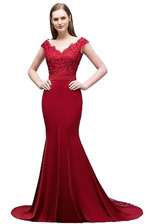 3a589c1baf1 Babyonlinedress Babyonline Women V Neck Lace Off Shoulder Mermaid Evening  Gown Long Formal Dress at Amazon Women s Clothing store
