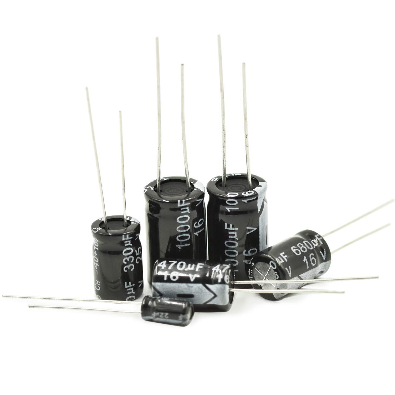 500pcs 24Value 10V 16V 25V 50V 0.1uF-1000uF Kit de Surtido Surtido de Capacitor electrol/ítico Negro con Caja de pl/ástico Transparente