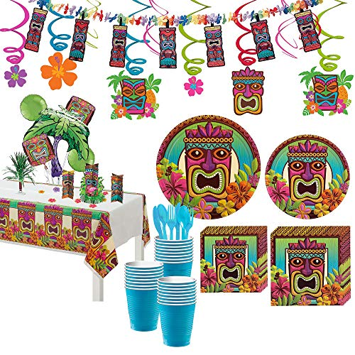 Party City Tropical Tiki Party Supplies for 120 Guests, 897 Pieces, Includes Tableware and Decorations ()