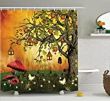 Ambesonne Fantasy House Decor Collection, Wonderland Forest with Fairies Butterflies Elves and Apple Tree Magical Universe , Polyester Fabric Bathroom Shower Curtain Set with Hooks, Multi