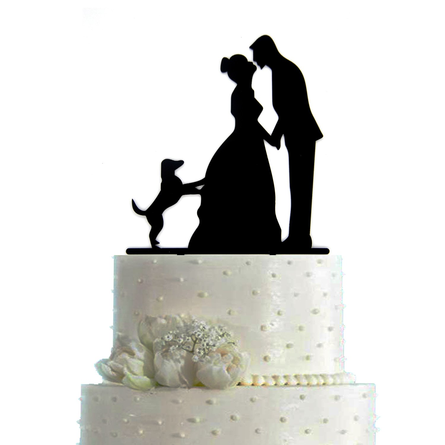 Cake topper amazon arrord mr mrs cake topper with dog acrylic silhouette wedding cake topper junglespirit Choice Image