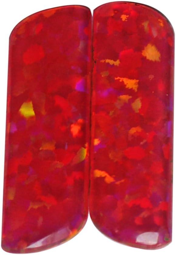 Unique Designer AG-5453 - Cabujón de ópalo sintético naranja y ópalo brillante, par de pendientes a juego, joyería