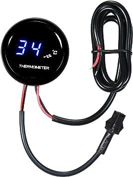 Kkmoon Wassertemperaturanzeiger 35mm Motorrad Universal Digital Blaue Led Wassertemperatur Temperaturanzeige 0 120 Bereich Auto