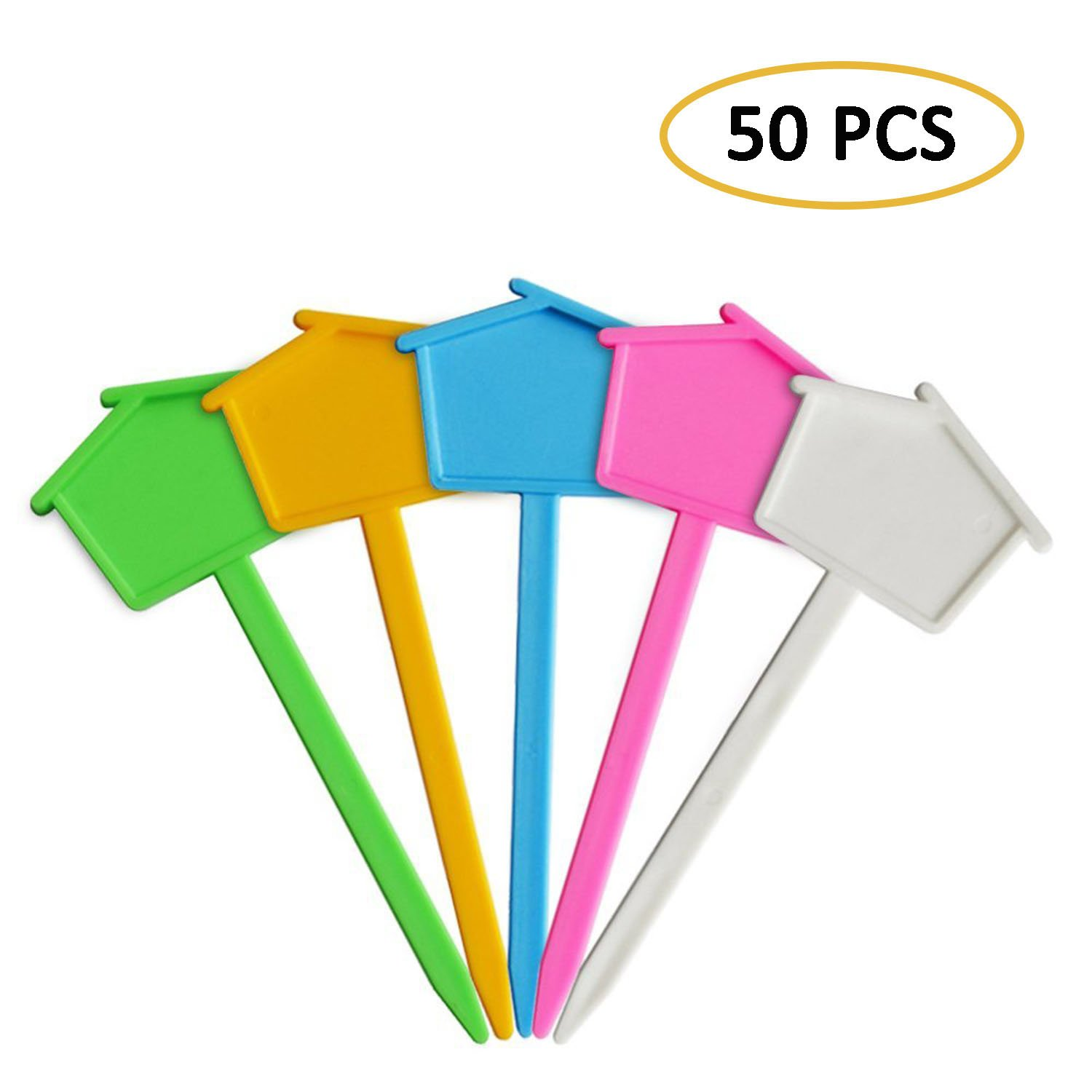 Couga Mall 50 PCS Multi-Functional Plastic Garden Labels, Cute House Design Reusable Waterproof Plant Markers Tags Stakes for Garden, Nursery and Lawn (Multicolor)