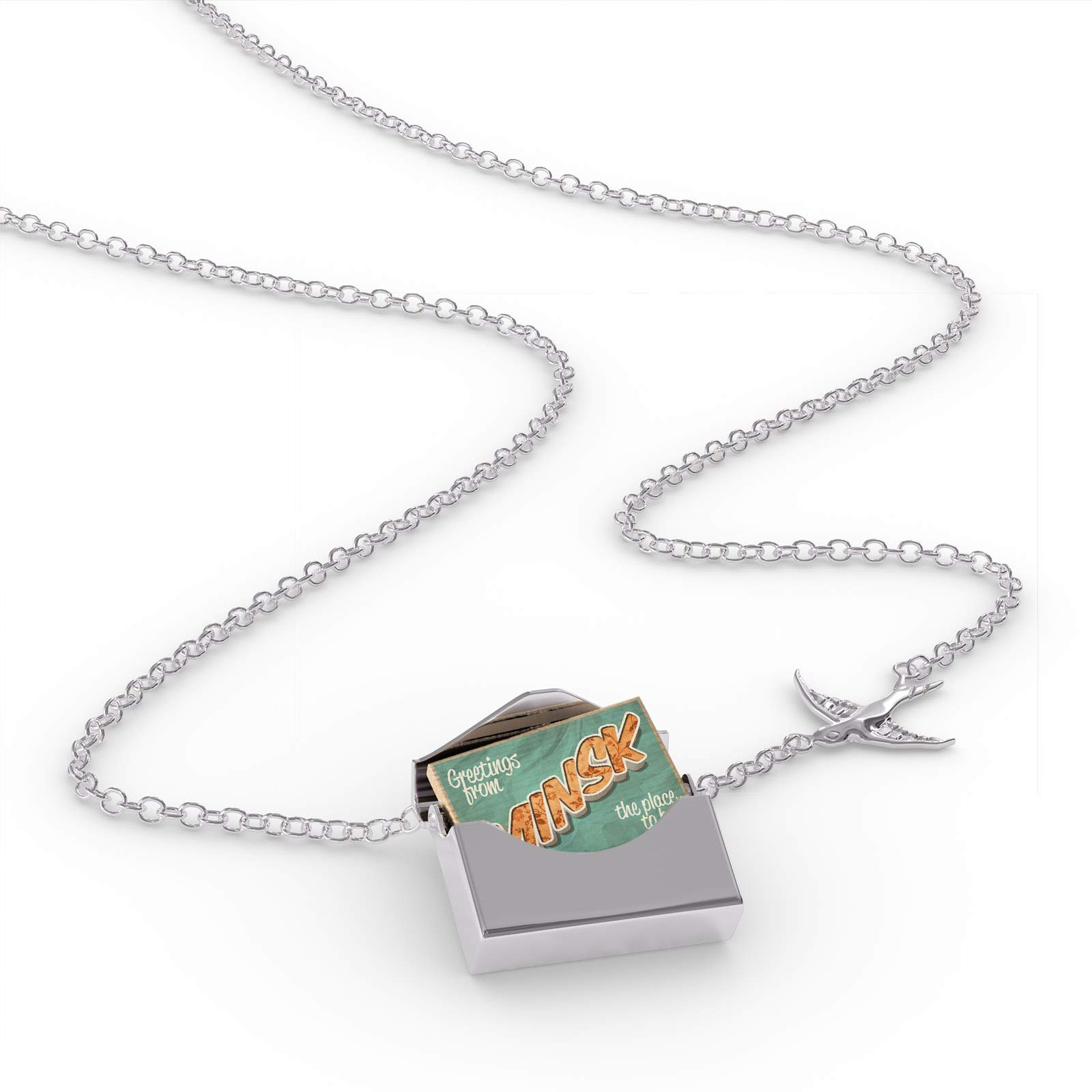 NEONBLOND Locket Necklace Greetings from Minsk, Vintage Postcard in a Silver Envelope