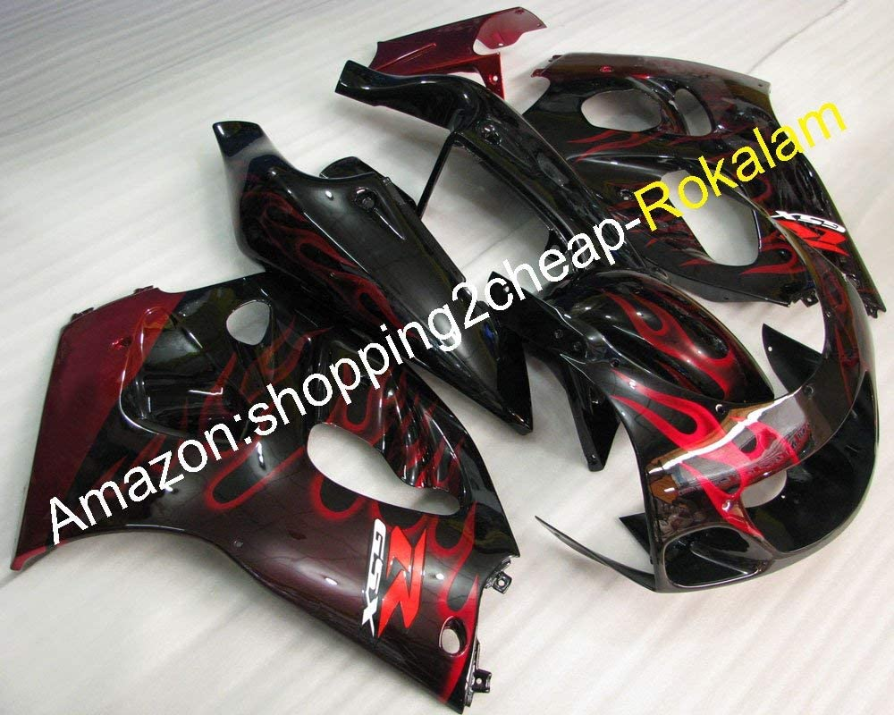GSX-R600 GSX-R750 Fairing For 96 97 98 99 GSXR600 750 GSX R750 R600 1996-1999 Red Flame Body work Motorcycle Fairings