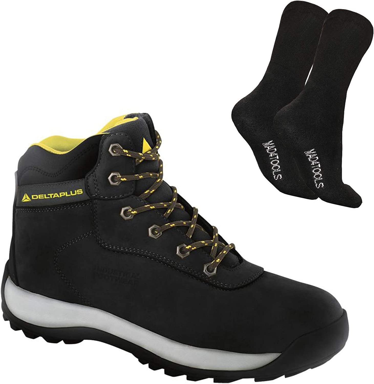 1 Pair Delta Plus LH842 Nubuck Leather Steel Toe Cap Hiker Safety Work Boots Black Sizes 7-12 /& mad4tools Work Boot Socks