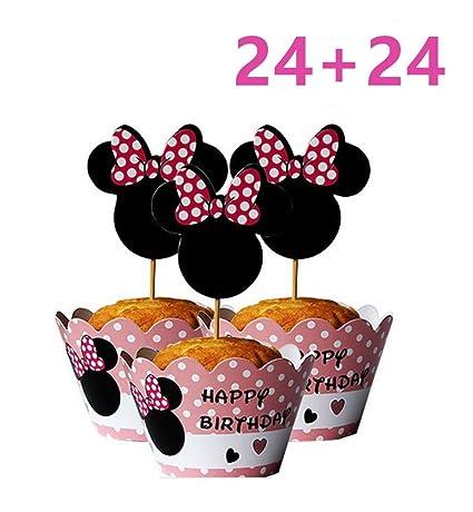 Mickey Mouse Minnie - Juego de 24 adornos para cupcakes y ...