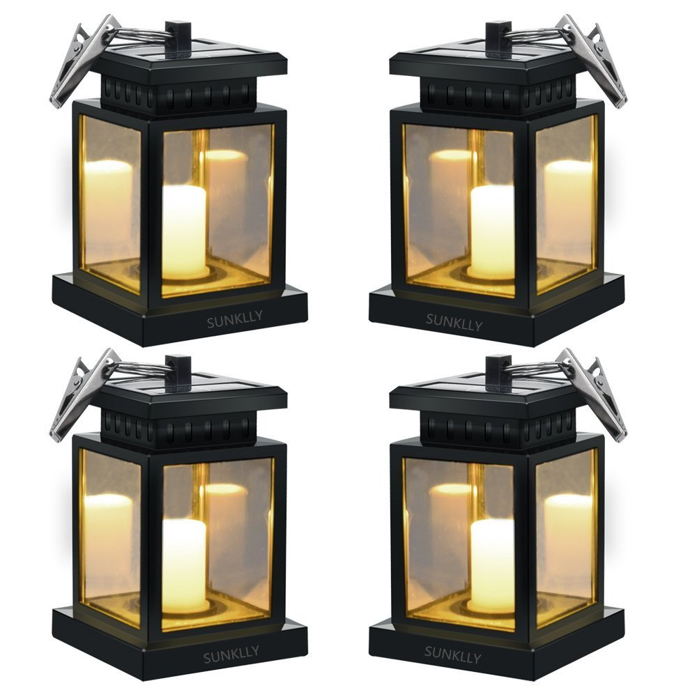 Solar Umbrella Lights - Hanging Solar Lights Sunklly Waterproof Led Handing Solar Candle Lantern Hanging Solar Lanterns for Garden,Patio,Lawn (Yellow Light, Pack of 4)