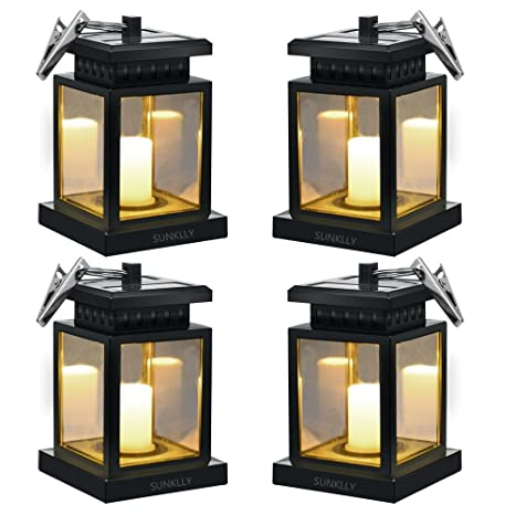 Hanging Solar Lights   Sunklly Waterproof LED Outdoor Candle Lantern  Decorated In Garden Patio Deck (