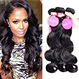 ISEE Hair 6A Unprocessed Brazilian Virgin Body Wave Hair Extensions 3 Bundles Deal Remy Human Hair Natural Black(12