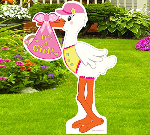 Cute News It's a Girl Yard Stork Announcement Sign - Welcome Newborn Baby Lawn Greeting Sign - Baby Shower Party Pink Decoration (4 feet Tall) -