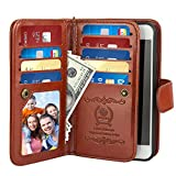 iPhone 6 Plus Case, iPhone 6S Plus Flip Folio Wallet Case, iDudu Luxury PU Leather Wallet Cover Case with Credit Card Holder & Wrist Strap for iPhone 6 Plus iPhone 6S Plus 5.5 Inch(Brown)