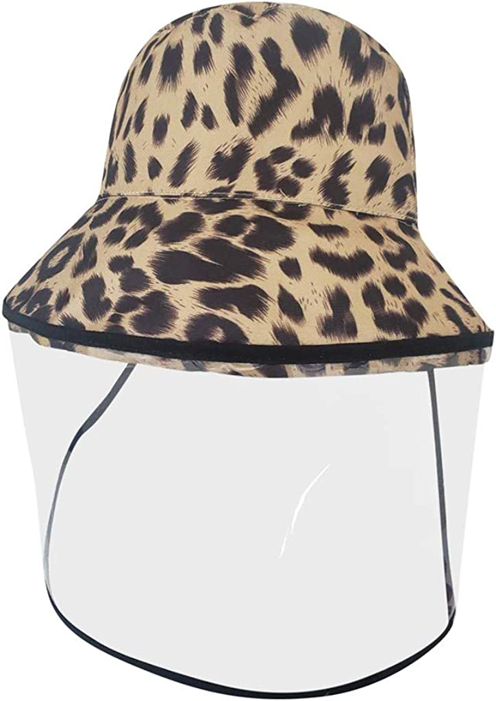 MeButiko Anti-Spitting Protective Dustproof Adult Leopard Tow Sides Fisherman Cap Hat Outdoor Safety Protection Face Shield