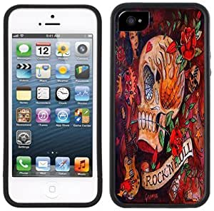 Rock N Roll Skull Rockabilly Tattoo Handmade iPhone 5 5S Black Bumper Plastic Case