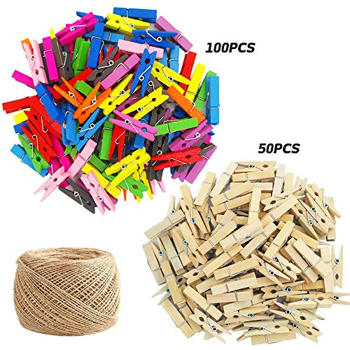 150 Pieces Mini Colored Natural Wooden Clips with Jute Twine, findTop Multi-Function Mini Clothespins Photo Paper Peg Pin Craft Clips, Jute Twine- 320 Feet for Home Arts Crafts Decor