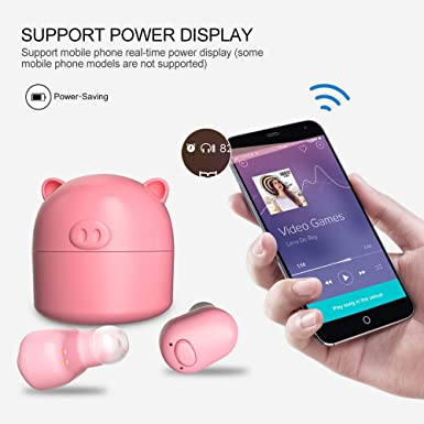 Amazon.com: Faironly Lovely Pig TWS Earbuds V5.0 True Wireless Bluetooth Headset Mini Earphone Black: Cell Phones & Accessories