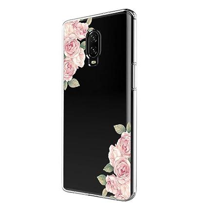 Amazon.com: Funda transparente OnePlus 6T, diseño floral de ...