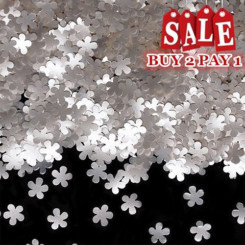 Natural Edible GMO Sugar Nuts Gluten Soy Free Glitter Flower (White)