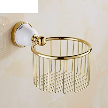 MOMO European Copper Paper Towel Basket/Ceramic Toilet Paper Basket/Bathroom  Paper Holder
