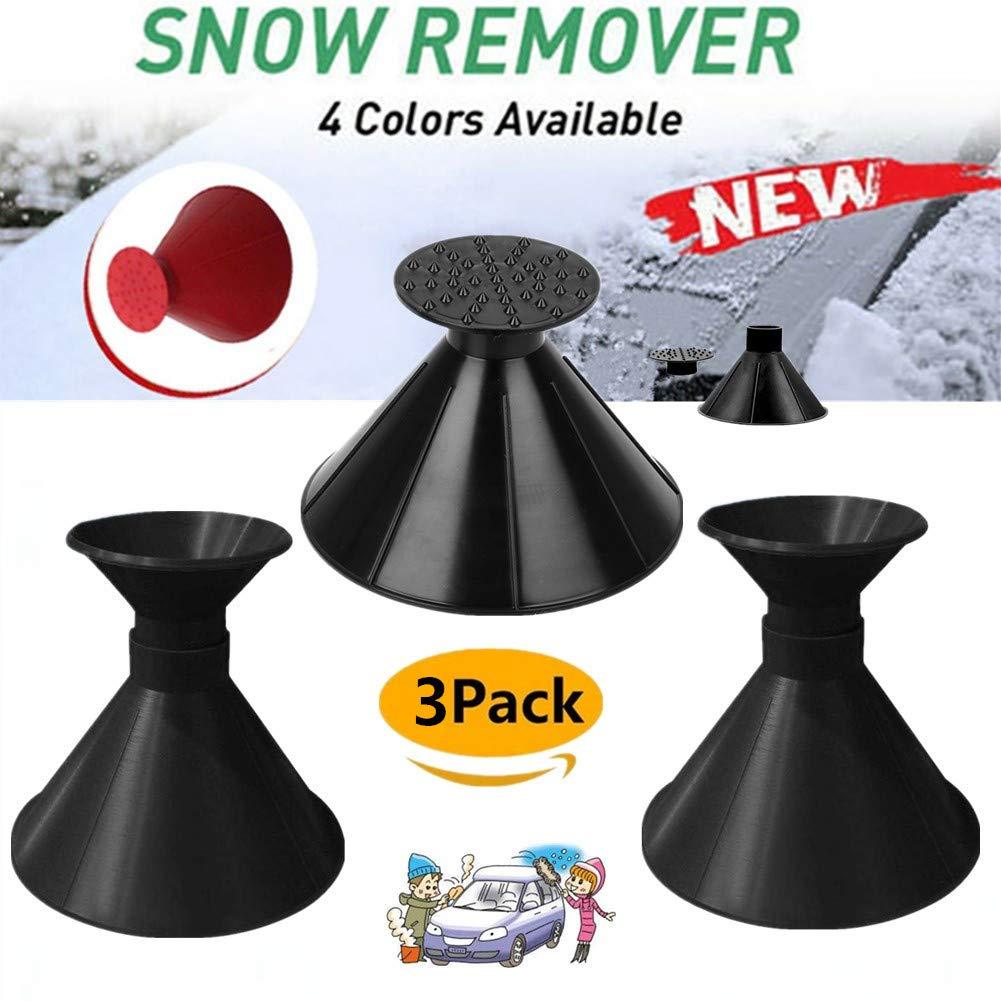 Boscoraggio Magic Scraper Round - Ice Scrapers Magic Funnel Snow Removal Tool Windshield Cone-Shaped Car (Black-3Pack) by Boscoraggio