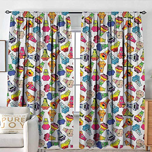 Petpany Blackout Curtains Kids,Playful Friendly Monsters Cartoon Characters with Funny Expressions Children Nursery, Multicolor,Rod Pocket Curtain Panels for Bedroom & Kitchen 84