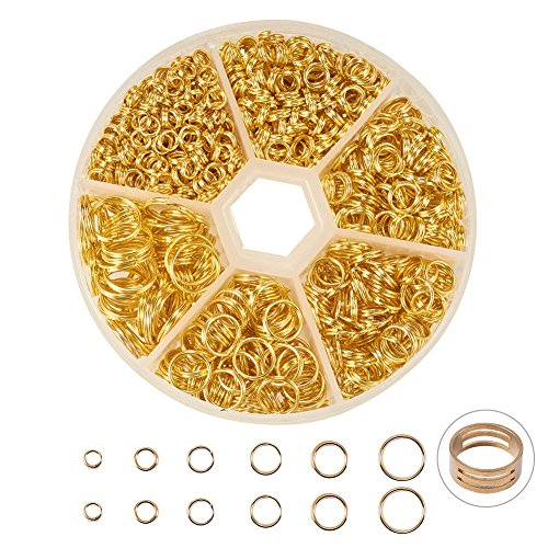 - PandaHall Elite About 900 Pcs Iron Split Rings Double Loop Jump Ring Diameter 4mm 5mm 6mm 7mm 8mm 10mm for Jewelry Making Golden