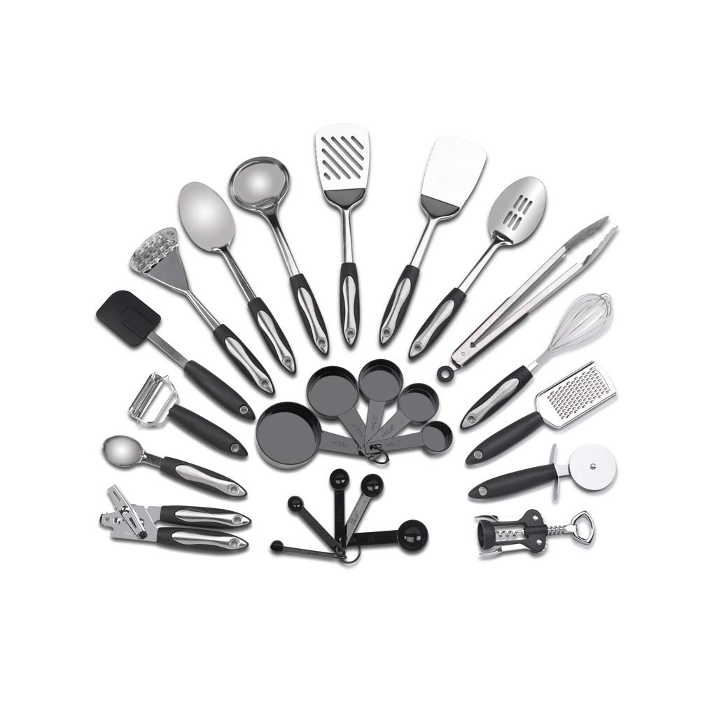 Stainless Steel Kitchen Utensil Set - 25 Cooking Utensils - Utensils Cookware Set with Spatula - Best Kitchen Gadgets Kitchen Tool Set Gift The Product Hatchery