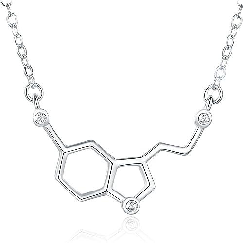 Amazoncom Rosa Vila Happiness Hormone Serotonin Molecule Necklace