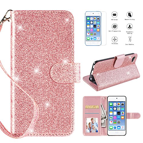 iPod Touch 6 Case iPod Touch 5 Case with [HD Screen Protector],Casekey [Kickstand] [Card Slots] [Wrist Strap] 2 in 1 Glitter Magnetic Flip PU Leather Wallet Cover Compatible iPod Touch 5/6, Rosegold ()