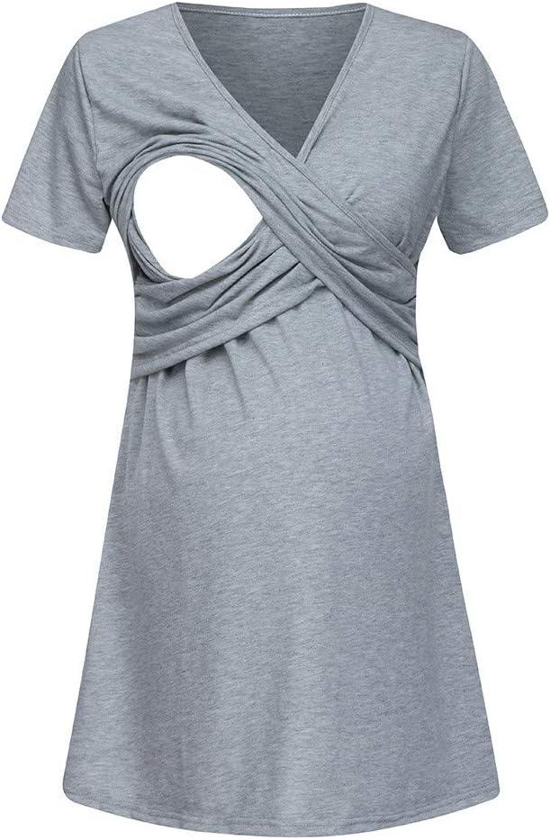 NDGDA Womens V-Neck Pregnant Nursing Sleepwear Dress Maternity Breastfeeding Short Sleeve Dress