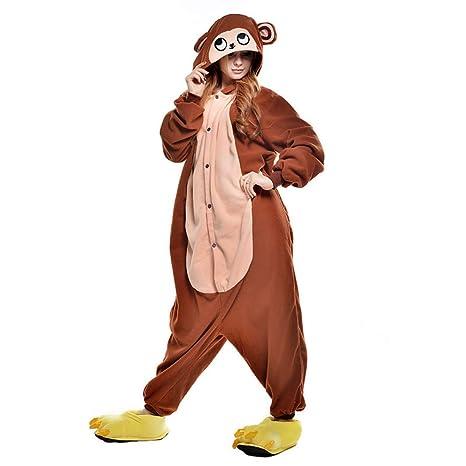 check-out 29c00 e8a13 DUKUNKUN Adulti Pigiama Scimmia Pigiama Costume/Fibra ...