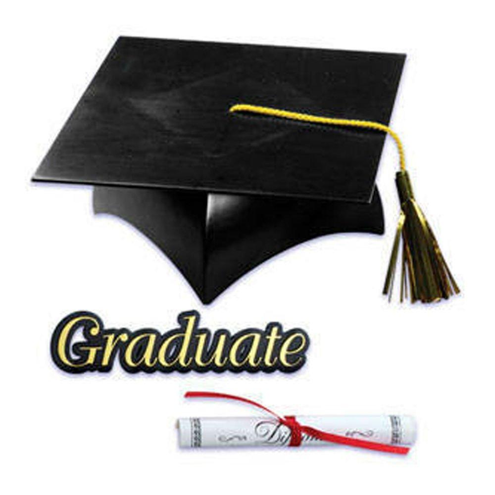 Graduation Cap Hat Diploma Graduate Sign Cake Kit Cupcake Toppers Decorations