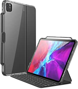 i-Blason Halo Series Case for New iPad Pro 12.9 Inch (2020/2018 Release), [ONLY for use with Smart Keyboard Folio; Compatible with Official Smart Folio] Clear Protective Case with Pencil Holder, Black