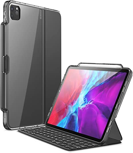 Amazon Com I Blason Halo Series Case For New Ipad Pro 12 9 Inch 2020 2018 Release Only For Use With Smart Keyboard Folio Compatible With Official Smart Folio Clear Protective Case With Pencil Holder Black