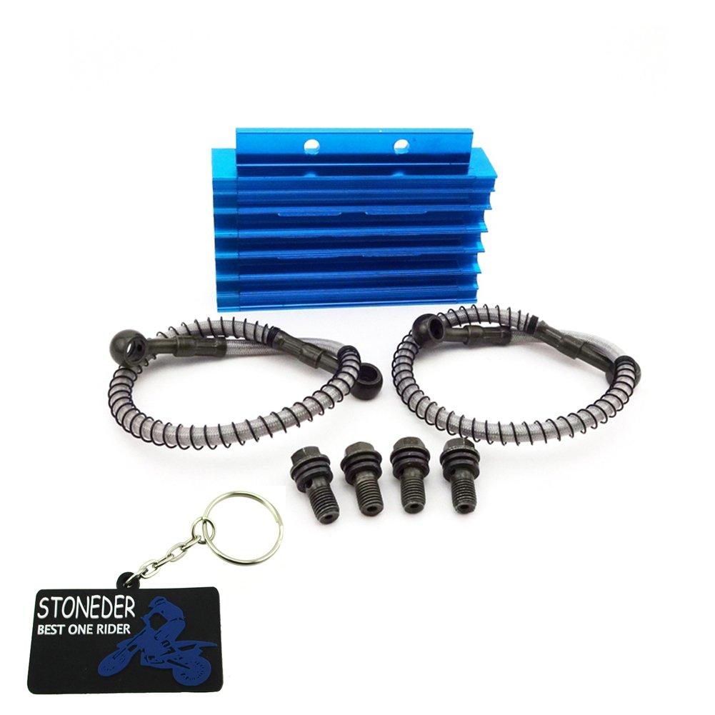 Stoneder Bleu CNC en aluminium refroidisseur d'huile pour moteur Pit Dirt bike chinois Trail pour moto 125 cc 140 cc 150 cc