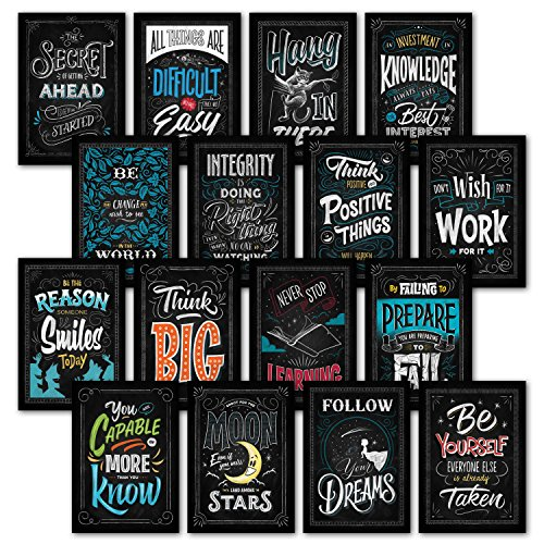Palace Learning 16 LAMINATED Motivational Classroom Wall Posters - Inspirational Quotes for Students - Teacher Classroom Decorations 13 x 19 (LAM) 001 by Palace Learning
