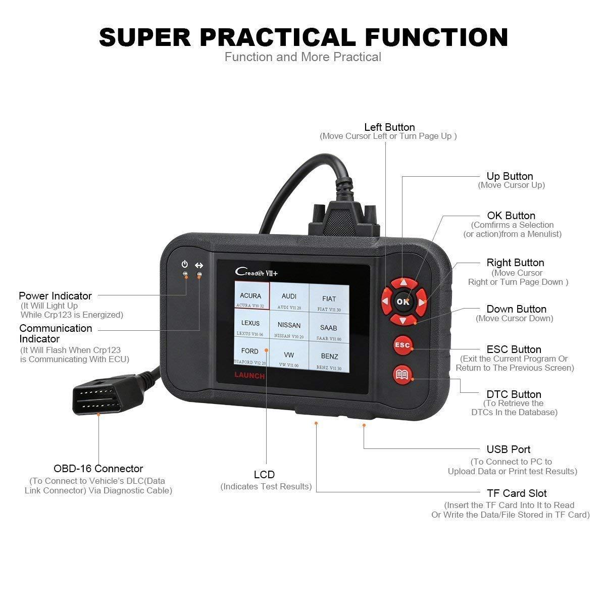 Launch Creader Vii Obd2 Scanner Abs Srs Transmission 2000 F250 Wiring Diagram And Engine Code Reader Diagnostic Scan Tool Automotive