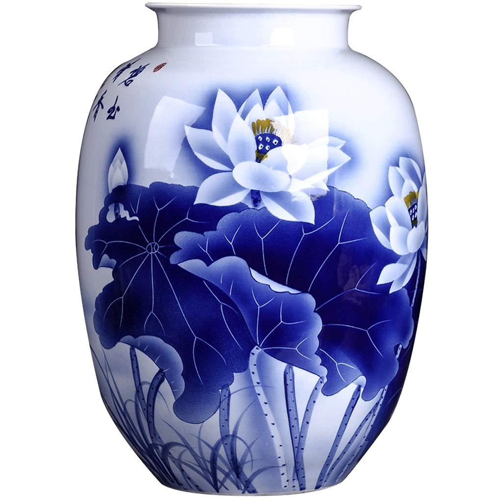 MAHONGQING 花瓶セラミック装飾品大花瓶ホームリビングルームの花の装飾ボトル花瓶の装飾手描き青と白の磁器 B07S89ZTKD