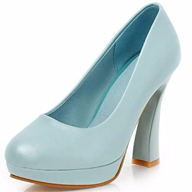 RFF-Women's Shoes Hohe Spitzen Stöckelschuhen, Pearl Stoff, Flache Wasserdichte Schreibtisch, Schuh Mädchen, Blau, 35