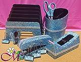 Light Blue Office Supplies: Light Blue Glitter Desk Stapler, Tape Dispenser, Scissors, 4 Binder Clips (32mm), Large Pencil Cup, Incline File Sorter, and Stapler Remover Set, (Your Choice of Color)