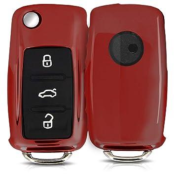 kwmobile Funda para Llave de 3 Botones para Coche VW Skoda Seat - Carcasa [Suave] de [TPU] para Llaves - Cover de Mando y Control de Auto en [Rojo ...
